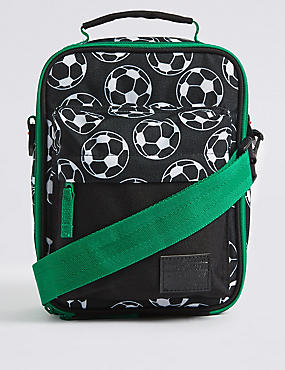 Kids' Football Print Lunch Box with Thinsulate™, BLACK MIX, catlanding