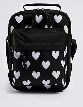 Kids' Heart Print Lunch Box with Thinsulate™, BLACK MIX, catlanding