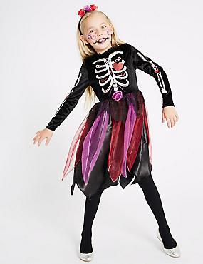 Kids' Day of the Dead Dress Up, BLACK MIX, catlanding