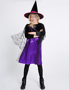 Kids' Witch Fancy Dress Up, PURPLE MIX, catlanding