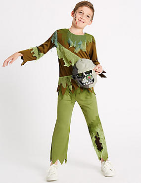 Kids' Zombie Fancy Dress Up, BLACK MIX, catlanding