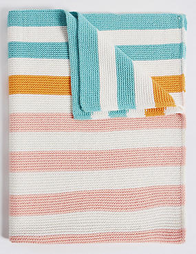 Bright Stripe Knitted Blanket