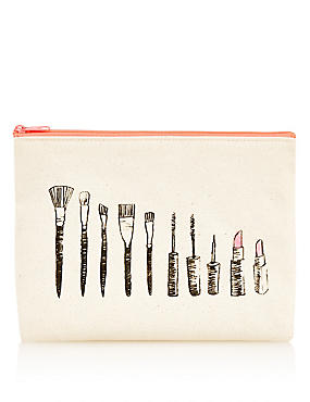 Canvas Makeup Bag, , catlanding