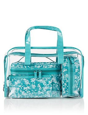 Clear Small Floral Bag, , catlanding