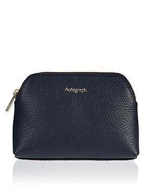 Navy Luxury Leather Cosmetic Purse