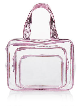 3 Piece Clear Cosmetic Bag Set