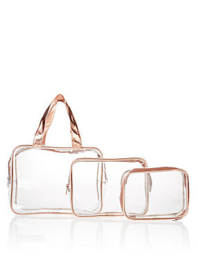 3 Piece Rose Gold Clear Cosmetic Bag Set