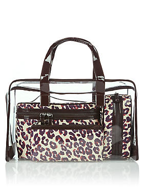 4 Leopard Print Cosmetic Bag Set