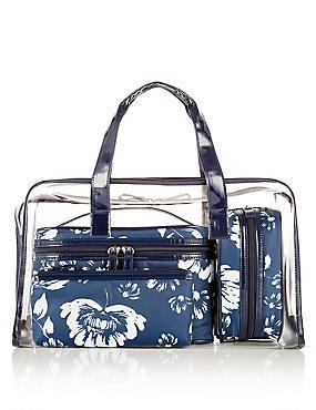 4 Piece Clear Floral Bag Set, , catlanding