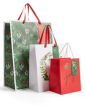 Christmas Foliage Gift Bags Pack of 3 , , catlanding