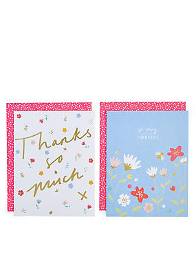 Pack of 8 Bright Floral Thank You Cards , , catlanding