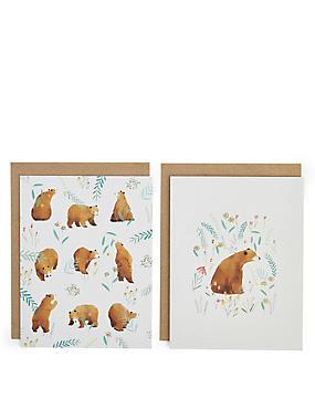 Pack of 8 Illustrated Bear Blank Cards , , catlanding