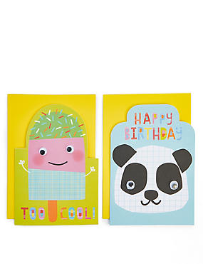 Pack of 8 Cute Characters Birthday Cards, , catlanding