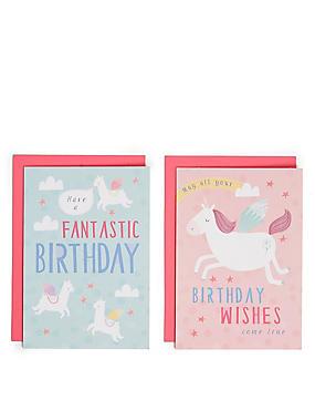 Pack of 8 Unicorn Birthday Cards, , catlanding