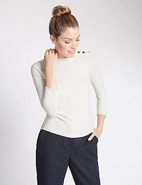 Rippled Turtle Neck 3/4 Sleeve Jumper