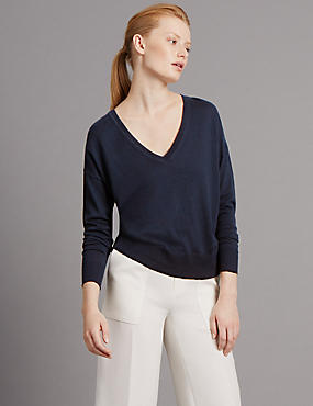 Loose Fit V Neck Jumper with Wool