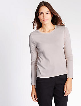 Pure Cotton Scoop Neck Jersey Top