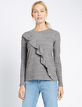 Long sleeve Jersey Ruffle Top