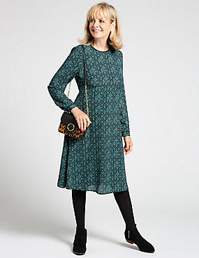 Printed Long Sleeve Fit & Flare Dress