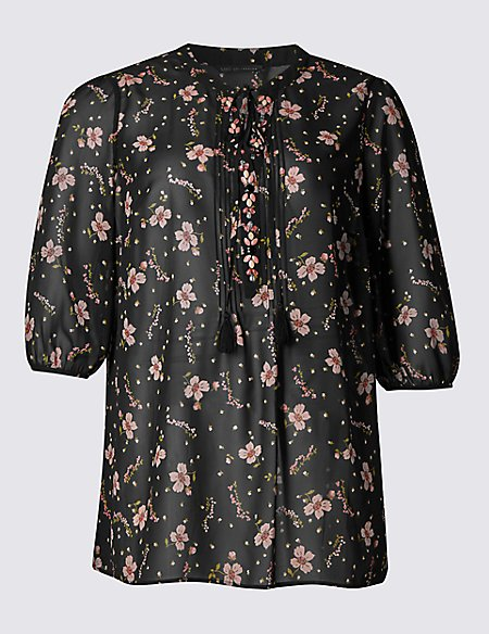 PLUS Floral Print V-Neck 3/4 Sleeve Tunic