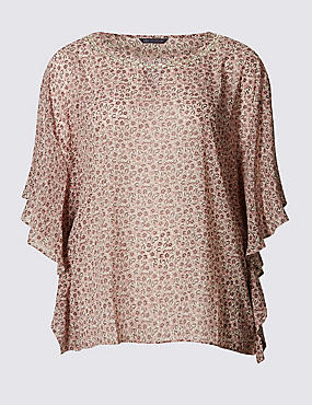 PLUS Half Sleeve Floral Print Shell Top