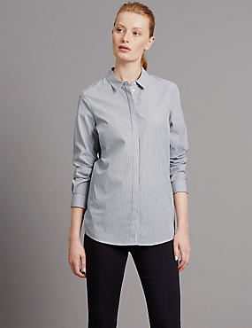 Pure Cotton Tailored Fit Stripe Shirt