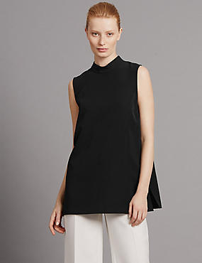 Tailored Fit High Neck Sleeveless Tunic