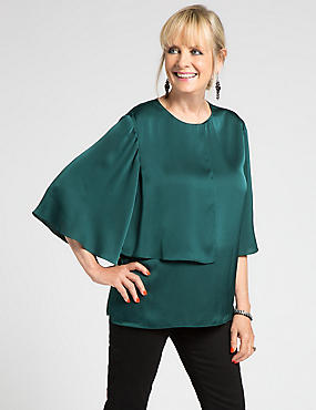 Twiggy 3/4 Sleeve Double Layer Blouse