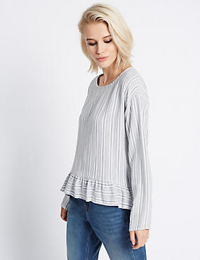 Pull On Striped Long Sleeve Blouse