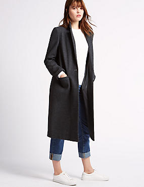Single Button Coat with Wool