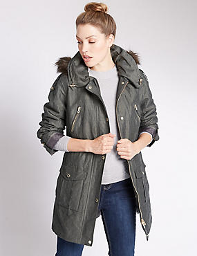 Faux Fur Hooded Trench with Stormwear™
