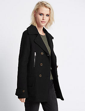 Long Sleeve Peacoat with Wool
