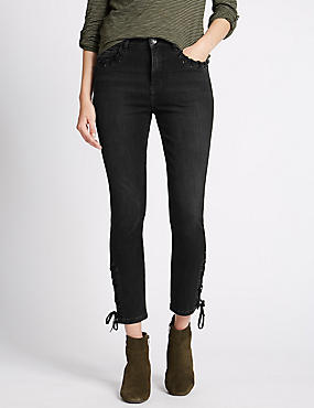Tie Detail Cropped Slim Leg Jeans