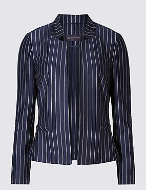 PETITE Pinstriped Long Sleeve Jacket