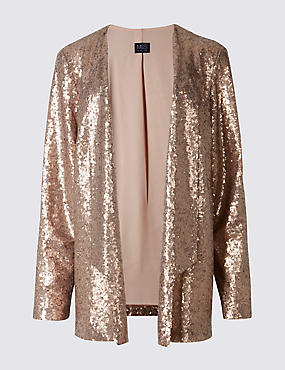 PETITE Long Sleeve Sequin Jacket