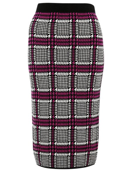 Best of British Pure Merino Wool Houndstooth Print Knitted Pencil Skirt