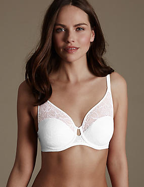 Floral Lace Non-Padded Full Cup Bra B-DD, WHITE MIX, catlanding