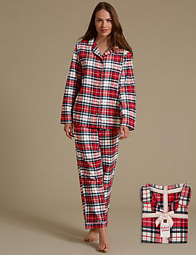 Pure Cotton Checked Revere Collar Pyjamas