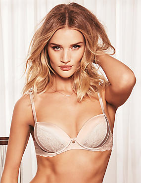 Silk & Lace Padded Balcony Bra A-E
