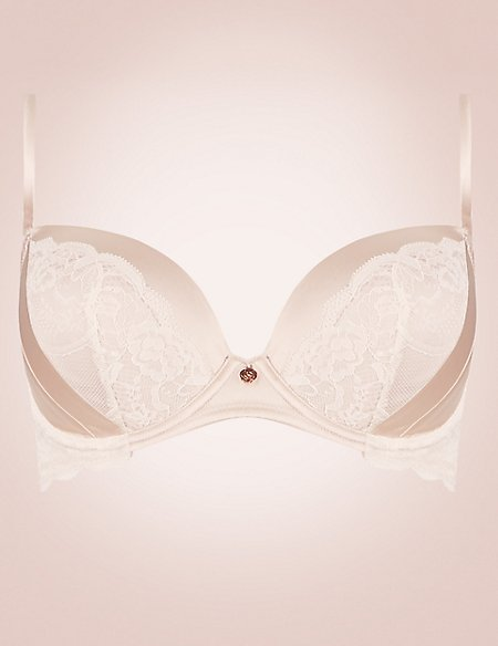 Silk Blend Lace Padded Balcony Bra A-E