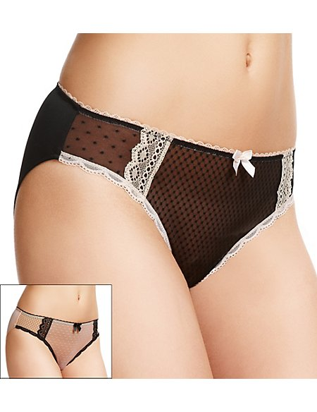 2 Pack Mesh High Leg Knickers