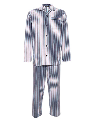 2in Longer Pure Cotton Striped Pyjamas Clothing