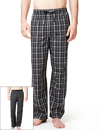 2 Pack Pure Cotton Checked & Striped Pyjama Bottoms Clothing