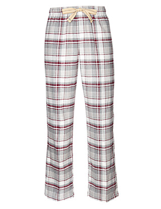 2in Longer Pure Cotton Checked Thermal Pyjama Bottoms Clothing