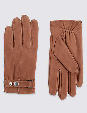 Leather Press Stud Gloves with Thermowarmth™, TAN, catlanding