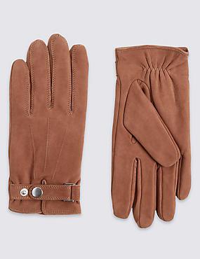 Leather Press Stud Gloves, TAN, catlanding