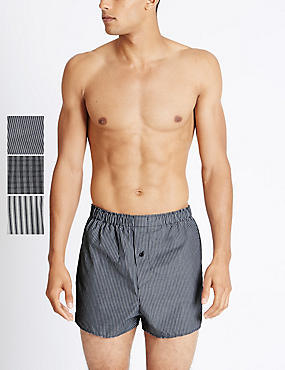 3 Pack Pure Cotton Easy to Iron Striped Boxers