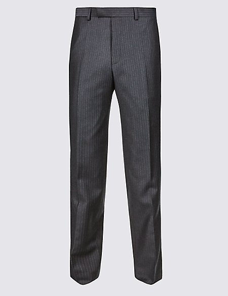 Charcoal Striped Tailored Fit Wool Trousers