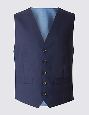 Navy Tailored Fit 5 Button Waistcoat