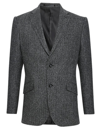 Pure New Wool Herringbone Jacket Clothing
